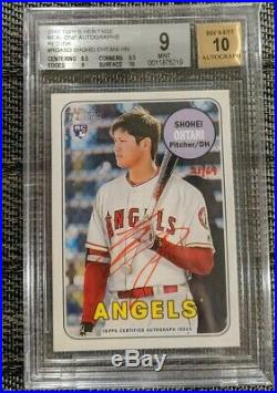 Shohei Ohtani Rc 2018 Topps Heritage Red Ink Auto 21/69 Autograph Bgs 9/10 Mint