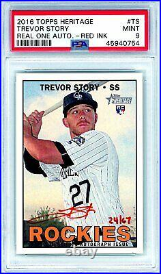 TREVOR STORY 2016 Topps Heritage Red Ink Rookie Card RC Auto Autograph /67 PSA 9