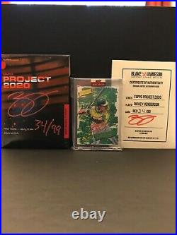 Topps Project 2020 # 57 Rickey Henderson By Blake Jamieson Auto Red Ink 34/99
