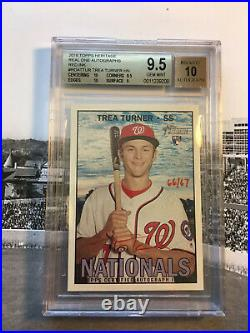 Trae Turner 2016 Topps Heritage Real One BGS 9.5 Gem Red Ink ROOKIE AUTO /67