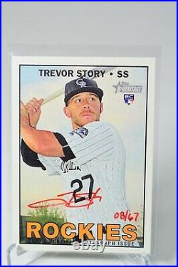 Trevor Story 2016 Topps Heritage Rookie Autograph Red Ink /67 ROA-TS Auto Real