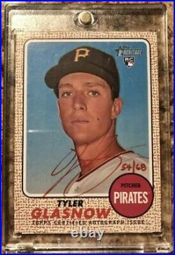 Tyler Glasnow 2017 Topps Heritage Real One Red Ink Auto Rookie RC #'d